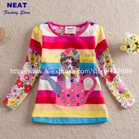 STAR  2013 new free shipping cartoon baby girls long sleeve t-shirts embroidery children clothing  kids wear L62143#