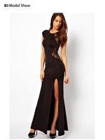 Free Shipping Long Party dresses new fashion 2014 long Party Sexy Dress Women Black Color X,M,L,XL,XXL