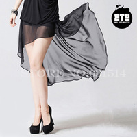 new 2014 Ety high-low Fluted irregular chiffon skirt + underpants lining black fishtail Formal work summer fashion