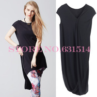 Ety 2014 New Pleated Draped knitting short sleeve asymmetric Mid-Calf Casual fashion women's Black dress arrival