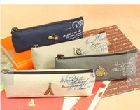 2014 new Linen dream paris pencil pouch/pen bag/ pencil bag/ Japan Style Gift Cosmetic Bag Christmas Gift