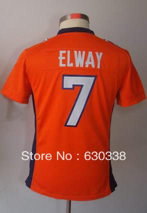 Women Football #7 John Elway Jersey Women's Game Team Orange Football Jersey John Elway Women Football Jersey(China (Mainland))