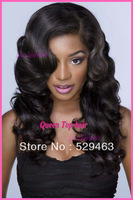 STOCK!!African American body wavy Front Lace wig/full lace wig glueless with bangs Brazilian virgin human hair for women