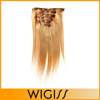 7pcs/set WIGISS Remy  clip in hair Human hair products straight brazilian virgin Golden hair extensions H7015AZ Bshow