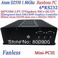 small fanless computer barebone pc with 6 COM PXE 2 RTL8111E Gigabyte Nics Intel atom D2550 dual core GMA36001.86Ghz Intel NM10