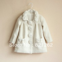 2013 newest limited brand children autumn and winter girls outerwear coat long pure white rose collar wool blend 2T-10T