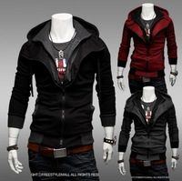New Hot Sell Korea Style  Assassins Creed III 3 Men's Casual Hoodie Coat Cosplay Jacket hooded outwear with zip, Free Shipping