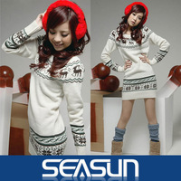 2013 new Christmas deer Christmas snowflakes Womens girls Sweater dresses kint Pullover Jumper Top Snowflake Deer Long Sleeve