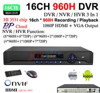 Home Video Surveillance 16ch full 960H D1 Security WIFI DVR, HDMI 1080P 16 channel DVR NVR ONVIF CCTV DVR Recorder HI3531 chip