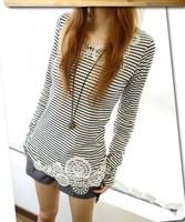 2013 casual tshirts women tees female lace flower tops long sleeve slim ladies clothing black white shirt hot selling tees #26