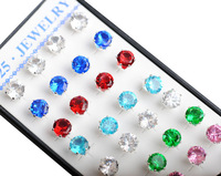 40pcs/box women rondelle CZ Crystal Ear Studs Earrings 6 mm mix 8 colors 925 sterling silver jewelry wholesale