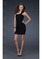 Free Shipping 2014 Funky inexpensive little sexy black Mini Chiffon One Shoulder Short-length Homecoming Dress plus size