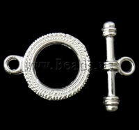 Free shipping!!!Zinc Alloy Toggle Clasp,Supplies For Jewelry, Donut, silver color plated, single-strand, nickel
