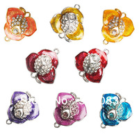 24*24mm flower mixed color charms gold & silver plated rhinestone bead pendant big hole for jewelry making 30pcs wholesale beads