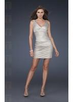 2012 New Arrival Bright classy Mini Elastic Silk-like Satin V-neck Short-length Homecoming Graduation Dress Free Shipping