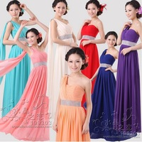 Evening dress 2014 new arrival  high waist female dress bridemaid chiffon formal evening gowns long design