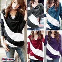 HK Free Shipping Fashion Womens Ladies Long Sleeve Stripe Cotton Loose Tops T Shirt S M L XL