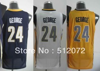 Indiana #24 Paul George Men's Authentic Road Navy/Home White/Alternate Yellow Basketball Jersey