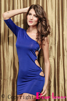 2013 New Fashion GOGO Sexy One Arm Mini Club Dress Blue/Black/Pink LC2551 + Cheap price + Drop Shipping + Fast Delivery