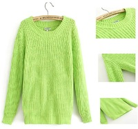 2013 autumn new candy fluorescent color coarse knitting knit women's pullover Green,Orange Size S-M #8413