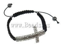 Free shipping!!!Brass Shamballa Bracelets,Men Jewelry, with Wax & Non magnetic Hematite, with rhinestone, black, nickel