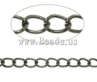 Free shipping!!!Iron Twist Oval Chain,Love Jewelry, plumbum black color plated, nickel, lead & cadmium free, 6x4.40x0.90mm