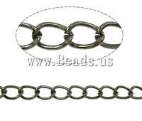 Free shipping!!!Iron Twist Oval Chain,Love Jewelry, plumbum black color plated, nickel, lead & cadmium free, 6x4.40x0.90mm