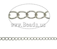 Free shipping!!!Iron Twist Oval Chain,Jewellery, platinum color plated, nickel, lead & cadmium free, 6x4.40x0.90mm, Length:50 m