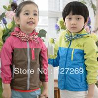 2013 Children Autumn Outerwear Color Block Decoration Unisex Wind Coat Long-sleeve Cardigan Free Shipping