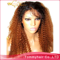 "1BT#30 two tone jery curly lace wig!virgin Brazilian hair two tone full lace wig &jerry curly front lace wig,10""-24""130% density"