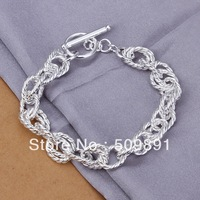 YR889 2013 New Fashion Unique Designer High Quality Lowest Price Full twist wave TO Silver bracelet,Silver Jewelry
