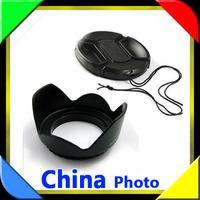 2pcs/set)1 pcs 55mm Flower Petal Lens Hood +Snap-on Front Lens Cap 55mm Cover For Canon Nikon Sony 18-55 55-200 55-250