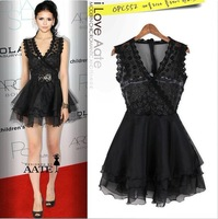 V-neck lace women dress chiffon new summer new sexy Transparent sleeveless princess temperament lace casual western style