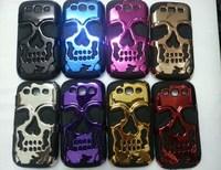 3D PC Silicon Silicone Fashion Skull Bronze Case Cover For Samsung Galaxy S3 SIII i9300 9300 S 3 III  1pcs/lot