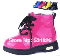 Free shipping,Children shoes bright japanned leather female child martin boots,male child leather fashion boots