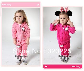 Free shipping Girl's Hello Kitty Tracksuits Children Velvet Kitty cat sport suits Girl's cat Hooded coat + cat pp pants