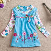 Retail,new summer dress 2014 kids baby girls dress embroidered flowers girls t-shirts peppa pig girls clothing children t shirts