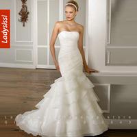 2014 Fashionable Sleeveless Tiered Wedding Dress Mermaid Train Formal Organza Bridal Gown Custom made Bride wedding dress suzhou