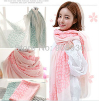 Free Shipping (12pcs/lot) Voile Women Scarf /shawl/Hijab New Flower Scarves Soft Colors Wholesale
