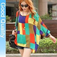 manufacturers supply 2014 autumn fashion summer stylish plaid irregular plus size women chiffon blouses tops
