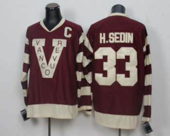 Henrik Sedin Jersey Vancouver #33 Henrik Sedin Men's Authentic Dark Red Hockey Jersey Men's Sports Hockey C Patch Wholesale Shop