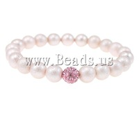 Free shipping!!!South Sea Shell Bracelets,Jewelry Accessories, with Rhinestone Clay Pave Bead, stardust, light pink, 8mm