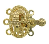Free shipping!!!Brass Box Clasp,2013 new fashion, Oval, gold color plated, 3-strand & hollow, nickel, lead & cadmium free