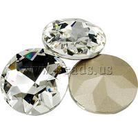 Free shipping!!!Crystal Cabochons,fantasies for womens, Dome, silver color plated, rivoli back, Crystal, 27mm, 100PCs/Bag