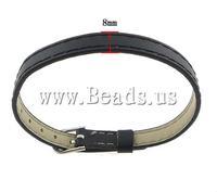 Free shipping!!!PU Cord Bracelets,Women Jewelry, iron clasp, black, 8x1.50mm, Length:Approx 8.5 Inch, 100Strands/Lot
