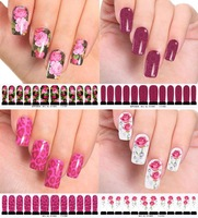 Free Shipping 4 Vogue Pattern Nail Art Foil Nail Water Transfers False Thin Sticker Patch Wrap