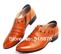2014 New Fashion genuine leather oxfords dress men shoes ,everyday, business men's shoes,yellow