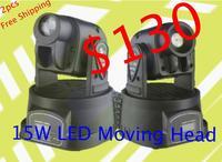 2pcs/lot,power 50W multi-color change DMX controller LED Mini moving head spot light(15W) STAGE LIGHTING