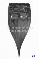 "free shipping 16""-32"" 8pcs set 100g 100% human hair clip in/on hair extension #1b natural balck"