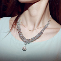 Free shipping new fashion Beautiful elegant drop pearl silver necklace chain accessories necklaces fashion hot sale a06414